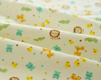 Half Meter of Kawaii  Baby Cotton Knit Fabric - Lion and Giraffe