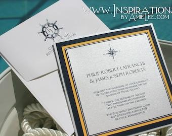 Nautical Wedding Invitations, pocket cards, wedding invitations