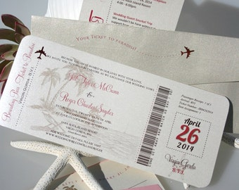 Boarding Pass Wedding Invitations, Ticket Invitations, Wedding Invitations