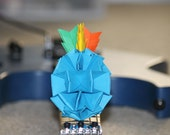 origami pineapple . origami ornaments . origami gifts . party decor . wedding decor -blue punk head