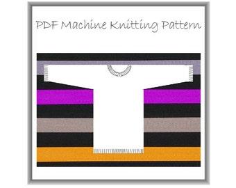 Machine knitting PDF pattern. Casual, loose 4 ply cotton tunic sweater 34 - 48 inch bust