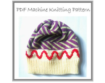 Beanie Pattern - Hat Pattern  - Machine Knit - Machine Knitting - Cap Pattern - Baby Beanie Pattern - Multi Sized - Quick And Easy Pattern