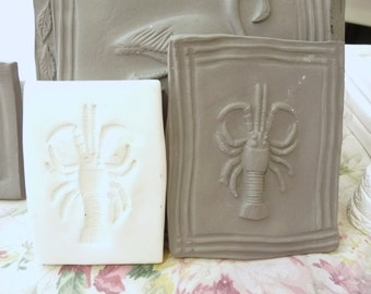 Clay Stamp Small Lobster Pottery Press Mold Relief Mold or Sprig Mold Bisque Clay Stamp for Ceramic Decoration and Texture White
