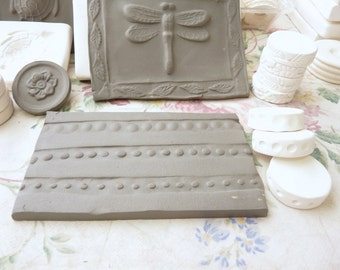 Clay Stamp Roller Set of Three Dots Border Design Bisque Pottery Stamp Wheel Tool for Ceramic Decoration and Texture