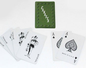 Vintage Playing Card Cansasta Set in Travel Box by Tiffany
