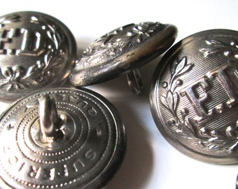 Vintage Buttons Fire Department (7) Metal 1940s  Superior Quality Mark - Bugle Button Included