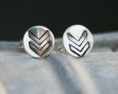 Sterling Silver Round Post Earrings - Chevron Symbol