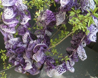 Ruffled Scarf, purple, with glitter, free shipping.
