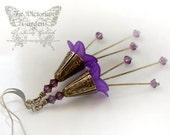 PERFECT PURPLE vintage Victorian flower earrings in purple, free gift boxing