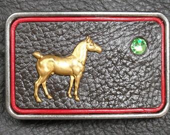 Belt Buckle with Horse and Swarovski Rhinestone