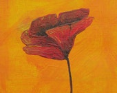 """3 Small Square Pieces, Poppy Flower, Original Acrylic on Canvas, 6""""x6"""""""