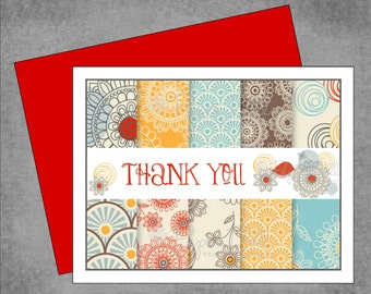 Fun and Flirty Flower Note Cards - Red Gold and Light Blue - Personalized Note Cards - Flat or Folded - Design: Happy