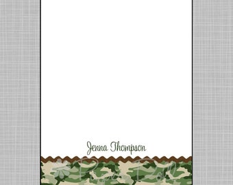 Military Green Camouflage with Brown Ribbon Notepads - Personalized Custom Notepads - Size: 5x7 - Shopping, To Do, or School List - Jenna**