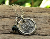 Silver Irish Jewelry Silver Celtic Knot Wax Seal Necklace with Green Jasper Bead Charm