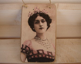 beautiful,Victorian lady, tinted photo image on shabby chic wooden tag, door or dresser decoration