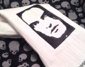 Embroidered tea towel kitchen towel housewares hand towel gothic metal black and white ooak