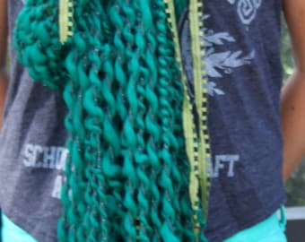 Hand Knit Scarf in Green, almost aqua, Super Soft Handspun Wool Yarn with Green Ribbons