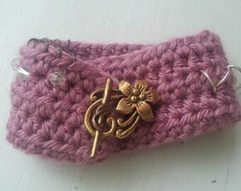Plum wine crochet cuff bracelet