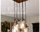 Mason Jar Pendant Light Chandelier  w/ Rustic Style Hardwood Crate Canopy, Square with 7 jars