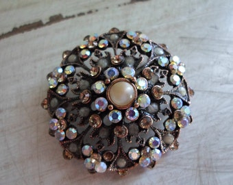Mid Century Retro Kitsch Large Brass Aurora Borealis AB and Faux Seed Pearl Brooch Pin Rhinestone Jewelry