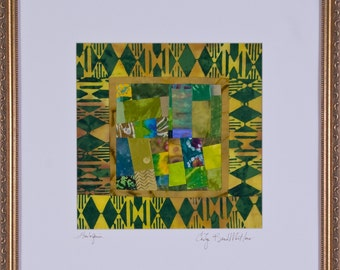 HARLEQUIN: A Fine Art Quilt In Gold Frame