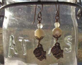 Bronze Rose Earrings with Miraculous Medal on back