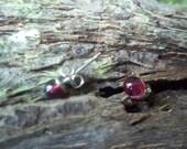 Red Garnet and sterling silver Stud Earrings