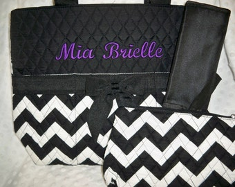 PERSONALIZED 3 Piece Chevron Diaper Bag Set with Name - Baby Boy or Girl Black Chevron Personalized Diaper Bag, Pouch, and Changing Pad