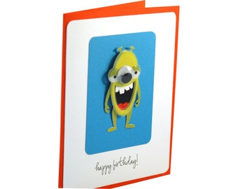 Kids birthday card, boy birthday card, childrens birthday card, monster, green, orange, blue