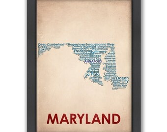 Maryland Word Map, 100% Original Design from Flatiron Design