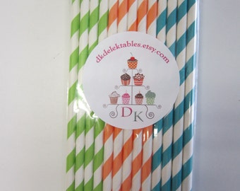 24 Striped Paper Drinking Straws Lime Green Orange Peacock