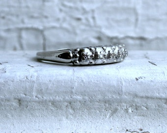 Vintage Art Deco 14K White Gold Diamond Prong Set Wedding Band.