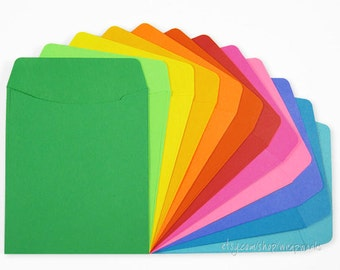 60 Brightly Colored Library Paper Stock Lightweight Card Pockets with Plain Backs (No Adhesive)