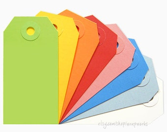 25 No. 2 Shipping Media Tags (3 1/4 x 1 5/8 inches) with Matching Eyelets - Choose your colors!