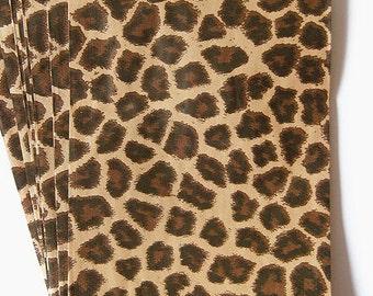 100 Leopard Print 8.5 x 11 inch Flat Paper Bags, Animal Print