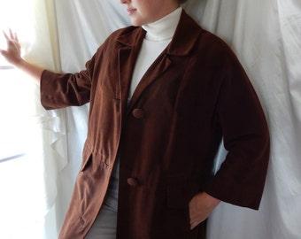 Vintage Suede Coat - Vintage Overcoat - Mad Men style Coat - Brown Suede Coat - Chocolate Brown Coat