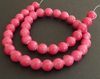 "Mountain Jade (dyed) Beads, Rose, 10mm Round - 15"" Strand"