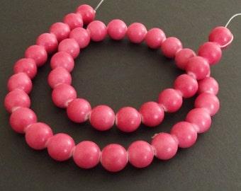 "Mountain Jade (dyed) Beads, Rose, 10mm Round - 15"" Strand"