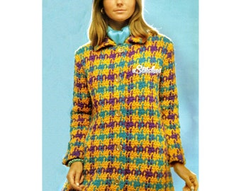 1960s Houndstooth Coat Using Weave In Technique Mod Style- Crochet pattern PDF 6901