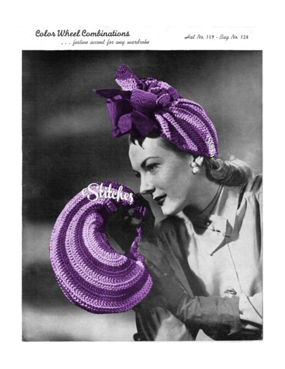 1940s Round Hand Bag and Festive Turban Hat - 2 Crochet pattern PDF 3197