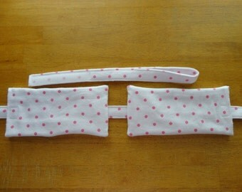 A002 Pink Polka Dots on White Flannel Designer Compress Holders by Sew Practical, Mom and Pop Craft