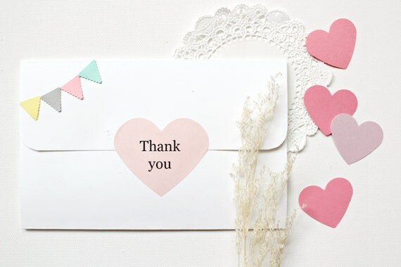 Ringrazio 50 cuore rosa adesivi grandi - stazionario di acquazzone Bridal, inviti, Tag, bomboniere, regalo, artigianato