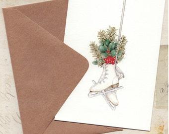 winter christmas ice skates note card set