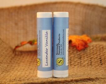 2 Tubes - Lavender Vanilla - 100% Natural  Lip Balm - Lanolin Free