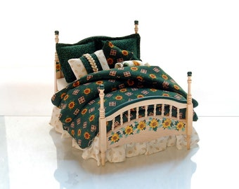 COUNTRY SUNFLOWERS Dollhouse Double Bed Hand Painted Custom Dressed 1:12 Scale Miniature
