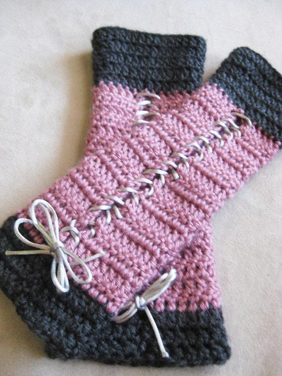 Crochet pattern lace up armwarmer fingerless by kickincrochet