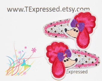 Girls Pink Poodle Hair Clip Set of Two Snap Contour Clips