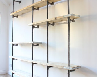 Wesley Scaffolding Boards and Dark Steel Pipe Wall Mounted and Floor Standing Industrial Shelving/Bookcase - Bespoke Urban FurnitureDesign