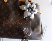 Penny's Large Leather Lily Flower Bag / Purse Charm - silver
