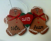 Gingerbread couple gingies personalized Christmas ornament Newlyweds Engaged or Anniversary